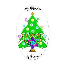 Christmas Hanukkah Interfaith Oval Car Magnet