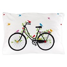 Old vintage bicycle with flowers and b Pillow Case