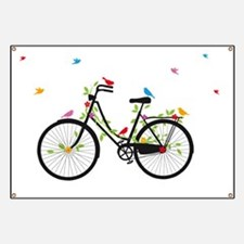 Old vintage bicycle with flowers and birds Banner