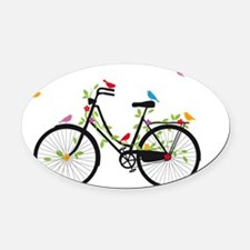 Old vintage bicycle with flowers a Oval Car Magnet