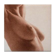 Side view of the naked torso of a wom Tile Coaster