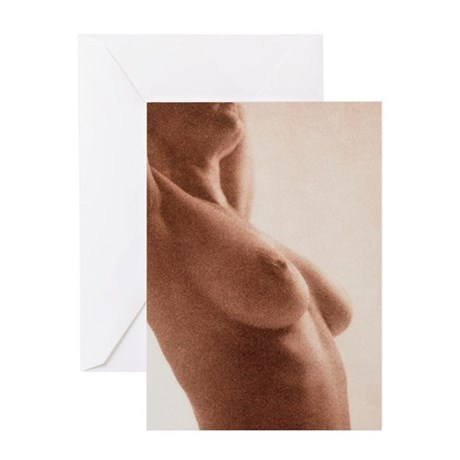 Side view of the naked torso of a wo Greeting Card