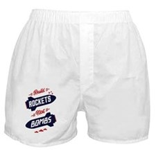 White Rockets Not Bombs Poster Art Boxer Shorts