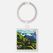 Swiss Cow Fun Square Keychain