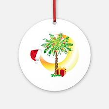 Christmas SC Palmetto Moon Flag Round Ornament
