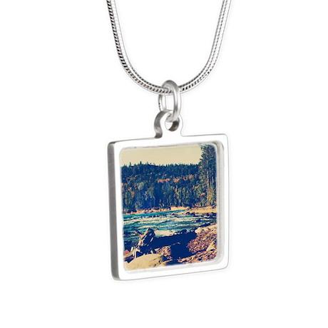 Rocky Shores of Lake Super Silver Square Necklace