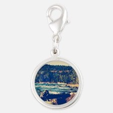 Rocky Shores of Lake Superior Silver Round Charm