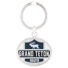 Grand Teton Nature Badge Oval Keychain