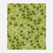 BranchLeaves_Green_Large Throw Blanket