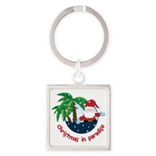 Christmas In Paradise Square Keychain