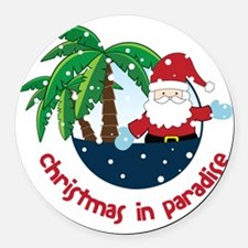 Christmas In Paradise Round Car Magnet