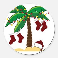 Tropical Christmas Round Car Magnet