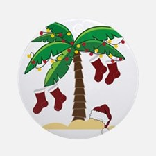 Tropical Christmas Round Ornament