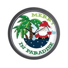 Merry In Paradise Wall Clock