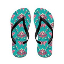 Butterfly_Teal_Large Flip Flops
