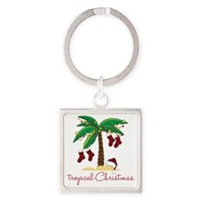 Tropical Christmas Square Keychain