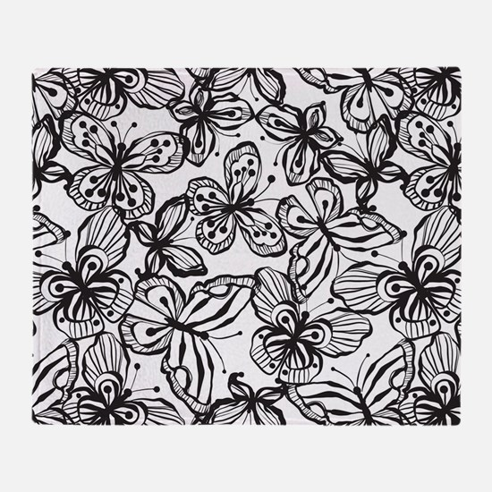 BWButterfly_BW_Large Throw Blanket