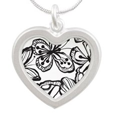 BWButterfly_BW_Large Silver Heart Necklace