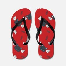 CatCute_Red_Large Flip Flops