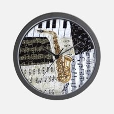 0555-sq-sax Wall Clock