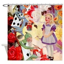 Alice Painting Roses SQ Shower Curtain