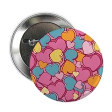 """CandyHearts_Pink_Large 2.25"""" Button"""