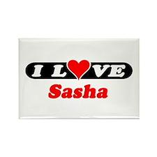 I Love Sasha Rectangle Magnet