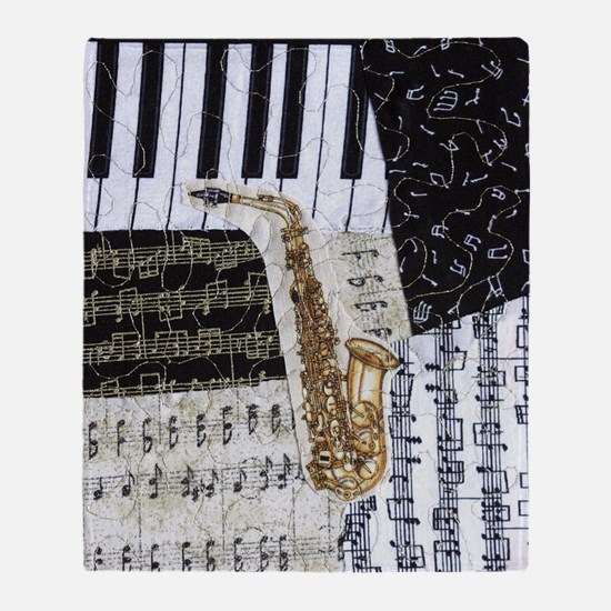 0555-ipad-sax Throw Blanket