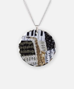 0555-ipad-sax Necklace Circle Charm
