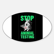STOP ANIMAL TESTING Oval Decal