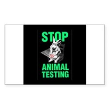 STOP ANIMAL TESTING Rectangle Decal