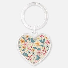 FlowerBotanical_Cream_Large Heart Keychain
