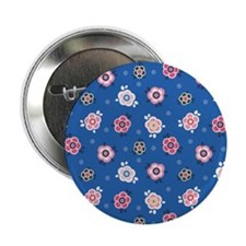 """FlowerJeans_Blue_Large 2.25"""" Button"""