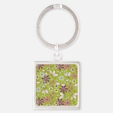 FlowerBotanical_Green_Large Square Keychain