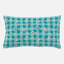 FlowerGingham_Blue_Large Pillow Case