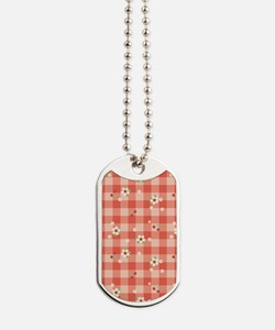 FlowerGingham_Red_Large Dog Tags