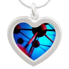 Molecular model Silver Heart Necklace