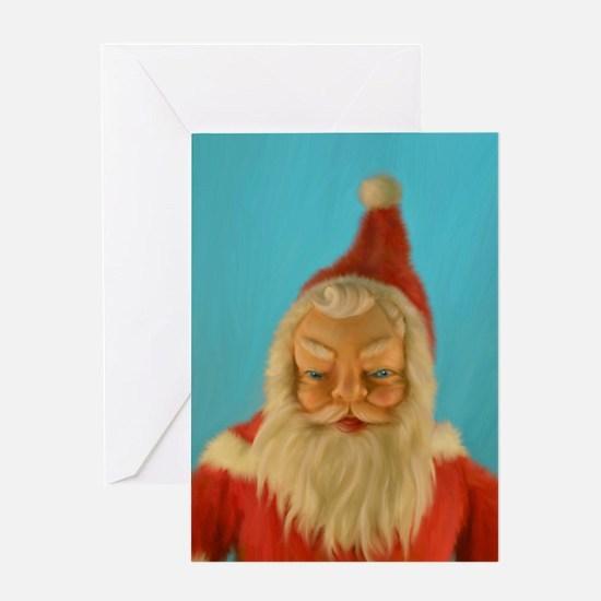 Vintage Santa Doll Painting Greeting Card