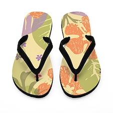 FlowerTropical_Yellow_Large Flip Flops