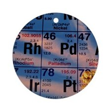 Nuggets of gold on periodic table Round Ornament
