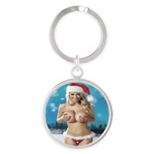 Wishing You A Merry Christmas Round Keychain