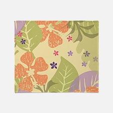FlowerTropical_Yellow_Large Throw Blanket