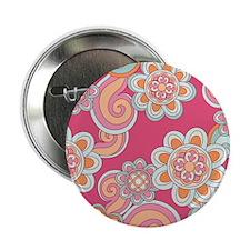 "FlowerRetro_Pink_Large 2.25"" Button"