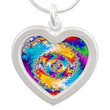 Mandelbrot fractal Silver Heart Necklace