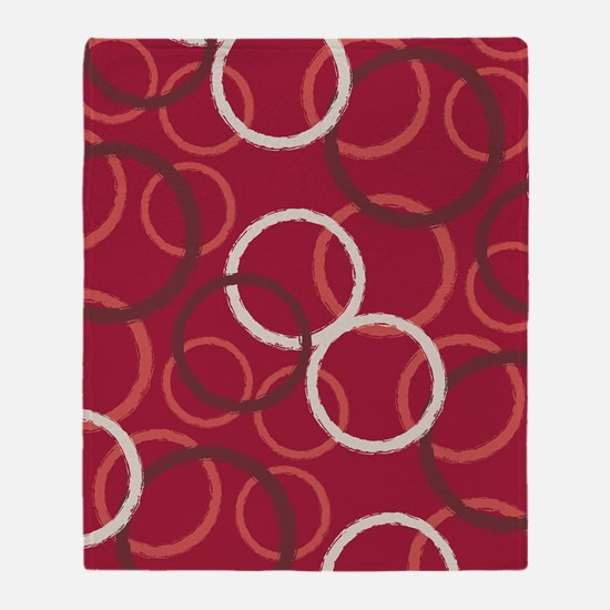 GeoCircles_Red_Large Throw Blanket