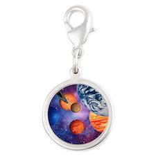 Solar system Silver Round Charm