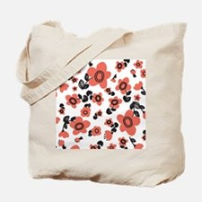 MariFlower_RedBW1_Large Tote Bag