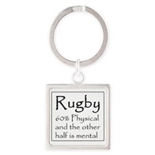 Rugby: 60% Physical Square Keychain
