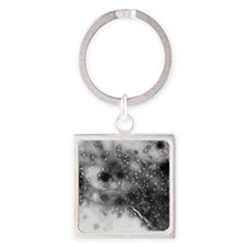 TEM of bacterial lysis due to T4 p Square Keychain
