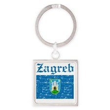 Flag Of Zagreb Design Square Keychain